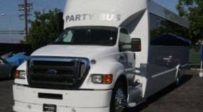White Ford F650 Party Bus (Up to 38 Passengers)